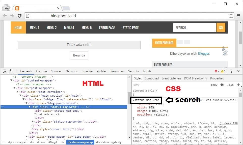 Tampilan Inspect Element Chrome
