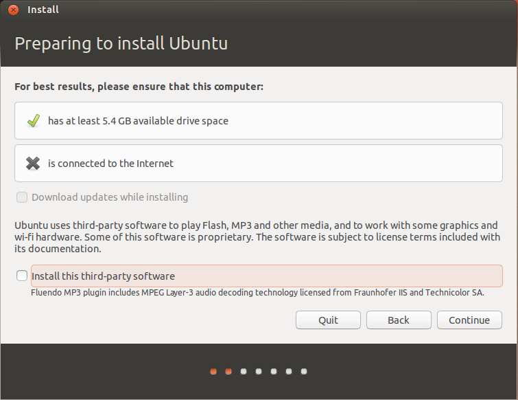 Preparing to install Ubuntu