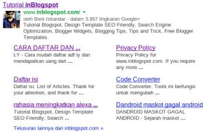 sitelink dari google untuk inblogspot.com
