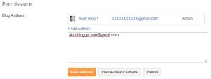 Masukan Email Akun Blogger Lain