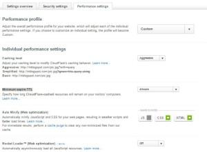 Settingan performance setting Cloudflare
