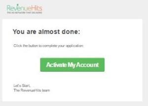 Klik dan Aktifkan Akun RevenueHits