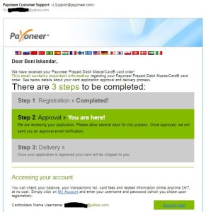 Approval Email dari Payoneer
