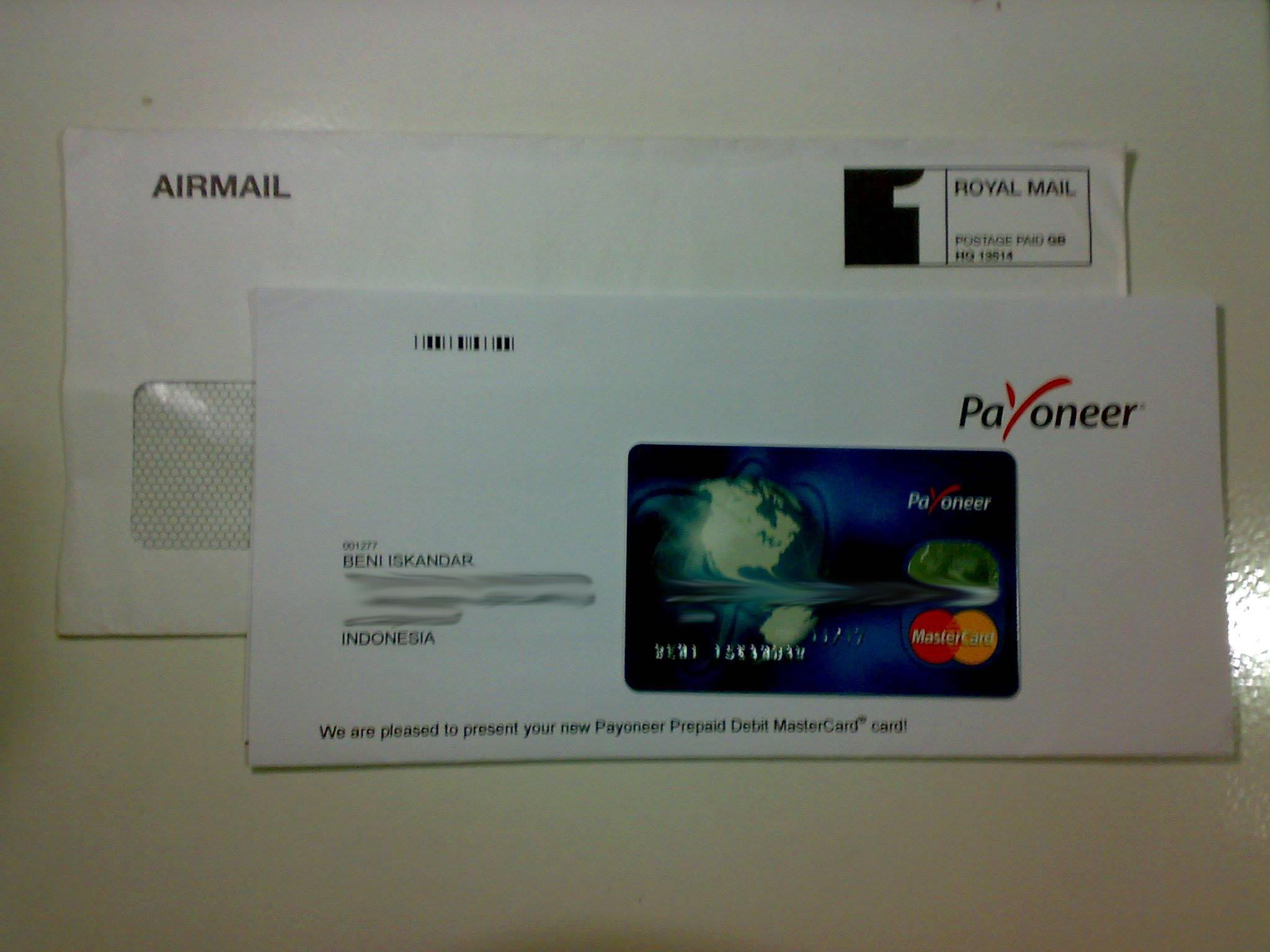 Isi Surat dan kartu payoneer lama
