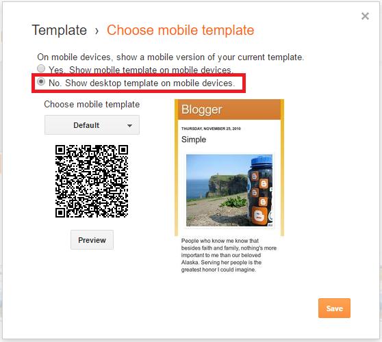 Cara Menon-aktifkan Mobile Template Bawaan Blogger