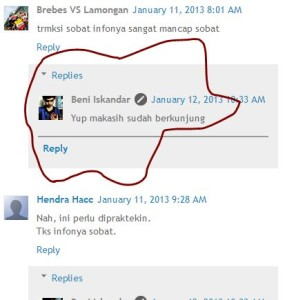 Tampilan Threaded Comment