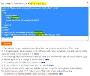 Cara Memasang Kode Iklan UC Union