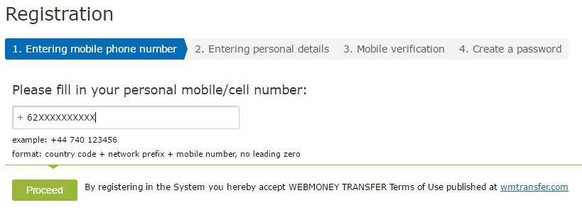 Cara Register Webmoney via Nomor HP